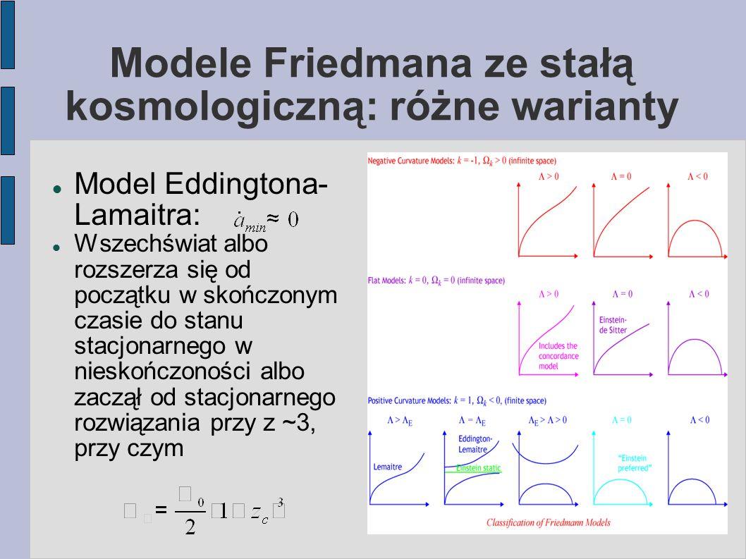 Modele Friedmana ze stałą kosmologiczną: różne warianty Model Eddingtona- Lamaitra: Wszechświat albo rozszerza się od początku w skończonym czasie do