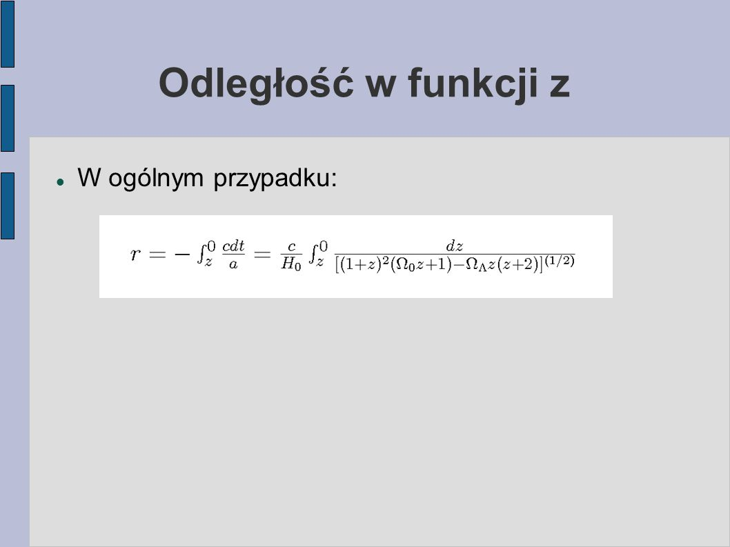 Odległość w funkcji z W ogólnym przypadku:
