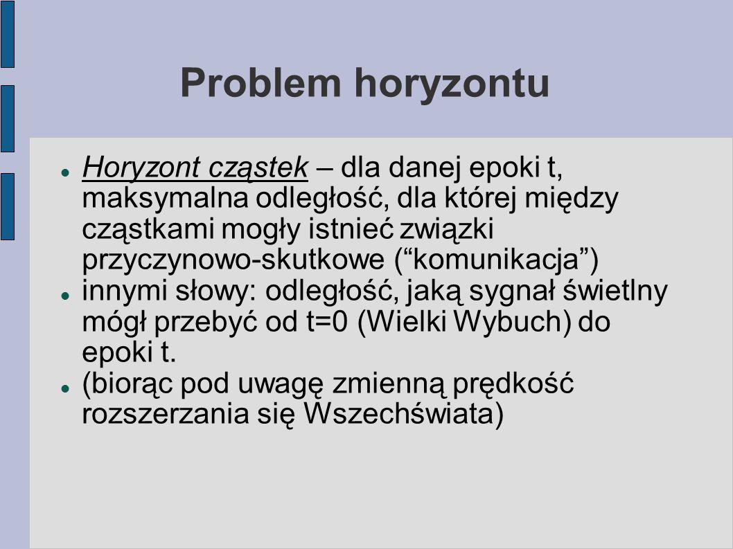 Problem horyzontu Horyzont cząstek – dla danej epoki t, maksymalna odległość, dla której między cząstkami mogły istnieć związki przyczynowo-skutkowe (