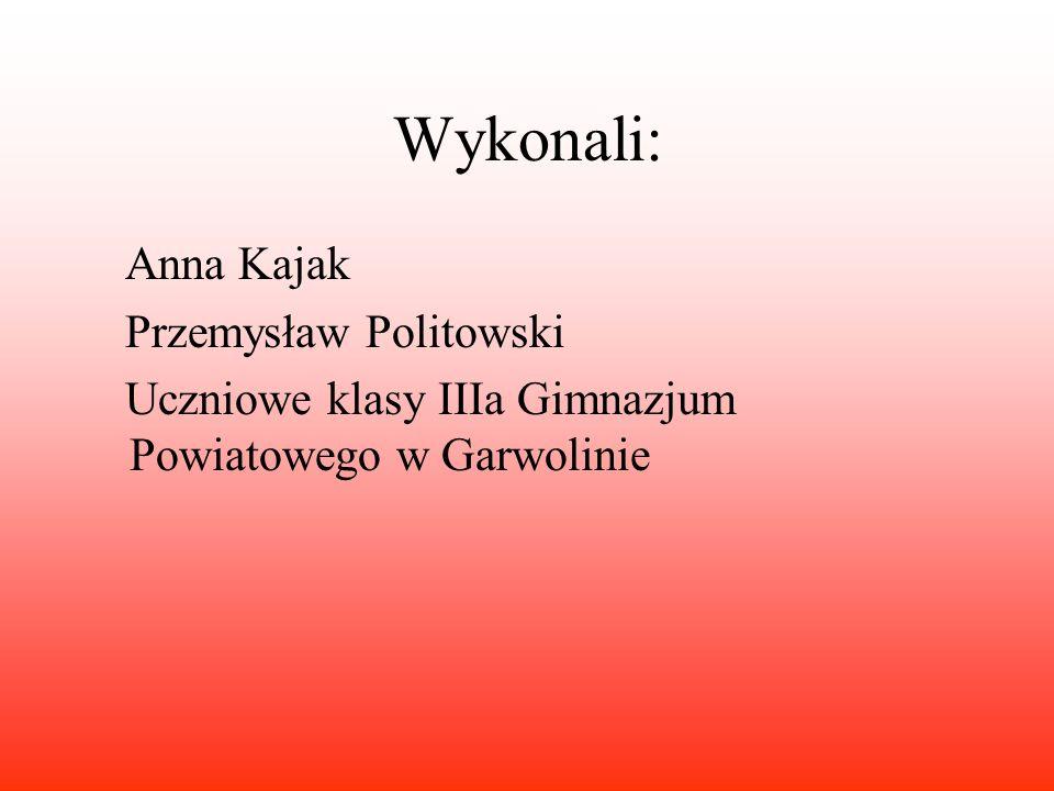 Wykonali: Anna Kajak Przemysław Politowski Uczniowe klasy IIIa Gimnazjum Powiatowego w Garwolinie