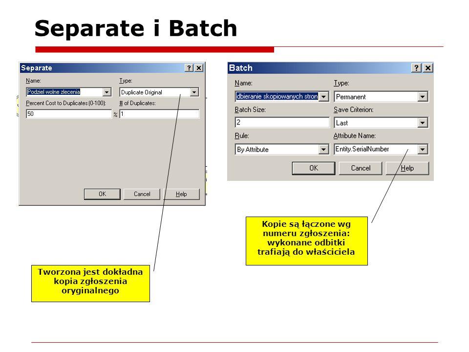 Separate i Batch Tworzona jest dokładna kopia zgłoszenia oryginalnego Kopie są łączone wg numeru zgłoszenia: wykonane odbitki trafiają do właściciela