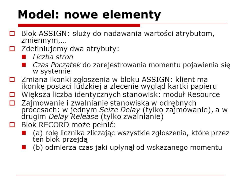 Model: nowe elementy  Blok ASSIGN: służy do nadawania wartości atrybutom, zmiennym,…  Zdefiniujemy dwa atrybuty: Liczba stron Czas Poczatek do zarej