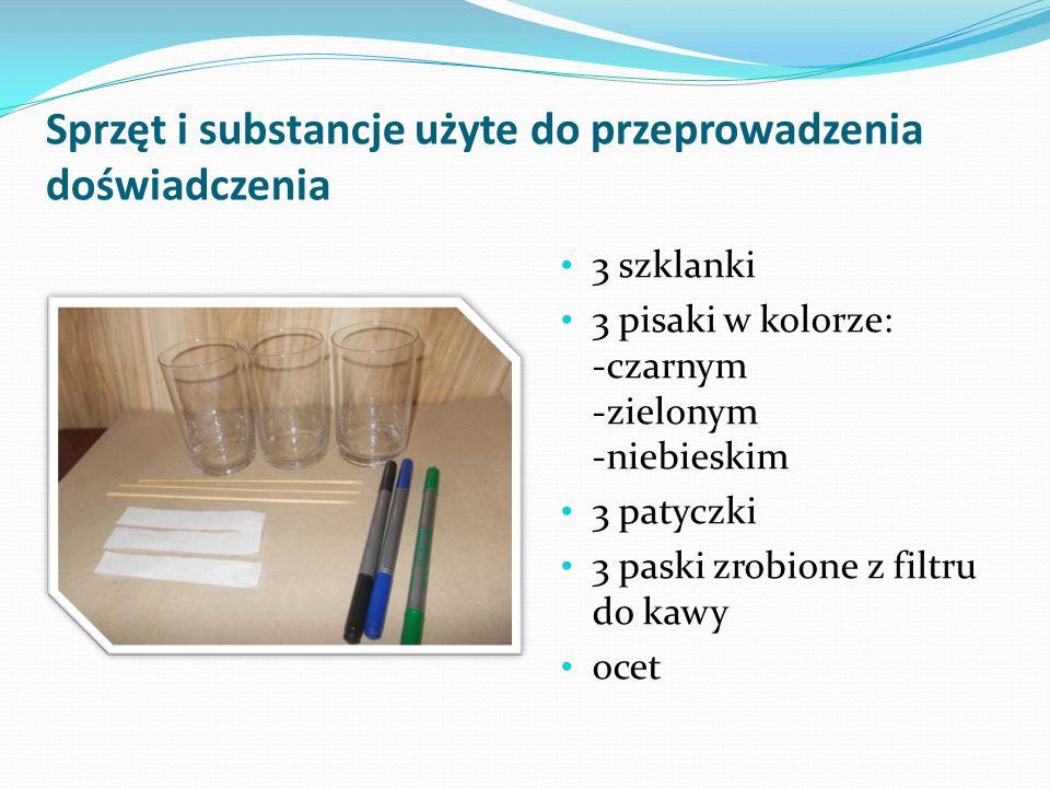 Sprzęt i substancje użyte do przeprowadzenia doświadczenia 3 szklanki 3 pisaki w kolorze: -czarnym -zielonym -niebieskim 3 patyczki 3 paski zrobione z