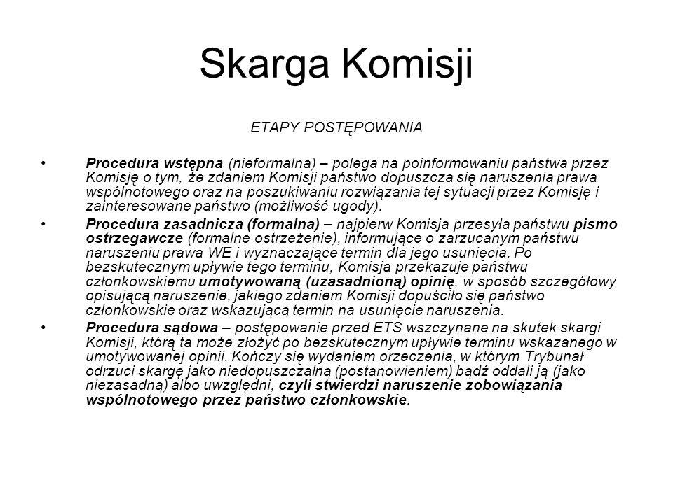 Skarga Komisji ETAPY POSTĘPOWANIA Procedura wstępna (nieformalna) – polega na poinformowaniu państwa przez Komisję o tym, że zdaniem Komisji państwo d