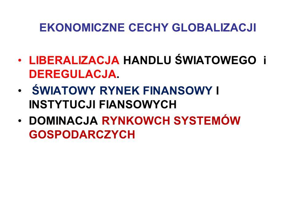 EKONOMICZNE CECHY GLOBALIZACJI LIBERALIZACJA HANDLU ŚWIATOWEGO i DEREGULACJA.