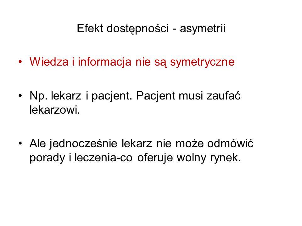 Efekt dostępności - asymetrii Wiedza i informacja nie są symetryczne Np.
