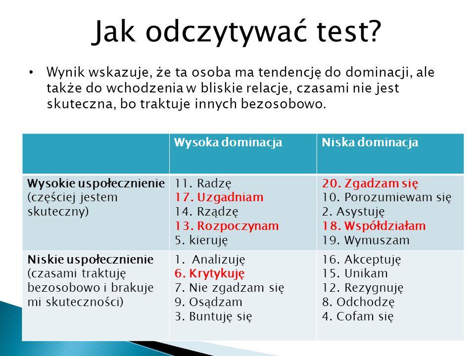 Jak odczytywać test? Wynik wskazuje, że ta osoba ma tendencję do dominacji, ale także do wchodzenia w bliskie relacje, czasami nie jest skuteczna, bo