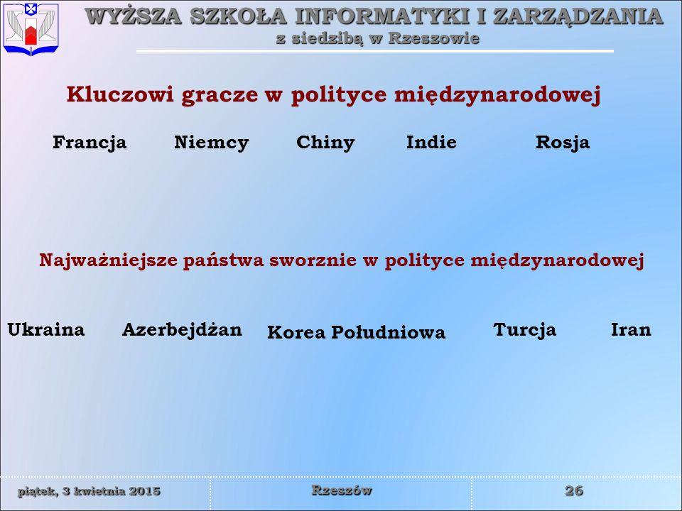 WYŻSZA SZKOŁA INFORMATYKI I ZARZĄDZANIA z siedzibą w Rzeszowie 26 piątek, 3 kwietnia 2015piątek, 3 kwietnia 2015piątek, 3 kwietnia 2015piątek, 3 kwietnia 2015 Rzeszów Kluczowi gracze w polityce międzynarodowej FrancjaNiemcy Ukraina IndieRosja Azerbejdżan Korea Południowa Chiny Najważniejsze państwa sworznie w polityce międzynarodowej IranTurcja