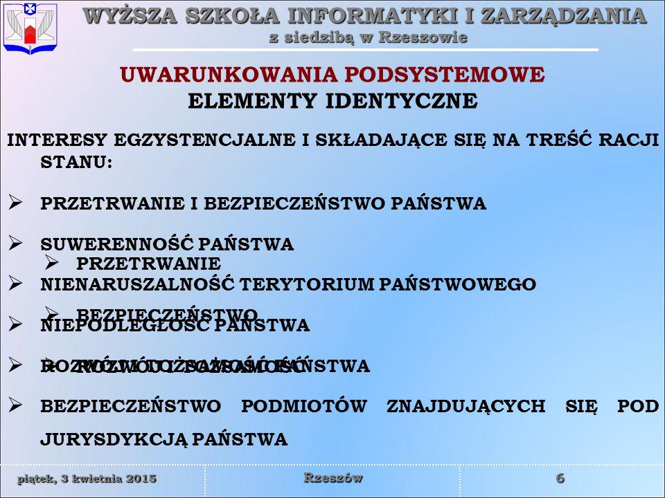 WYŻSZA SZKOŁA INFORMATYKI I ZARZĄDZANIA z siedzibą w Rzeszowie 6 piątek, 3 kwietnia 2015piątek, 3 kwietnia 2015piątek, 3 kwietnia 2015piątek, 3 kwietnia 2015 Rzeszów UWARUNKOWANIA PODSYSTEMOWE ELEMENTY IDENTYCZNE  PRZETRWANIE  BEZPIECZEŃSTWO  ROZWÓJ I TOŻSAMOŚĆ INTERESY EGZYSTENCJALNE I SKŁADAJĄCE SIĘ NA TREŚĆ RACJI STANU:  PRZETRWANIE I BEZPIECZEŃSTWO PAŃSTWA  SUWERENNOŚĆ PAŃSTWA  NIENARUSZALNOŚĆ TERYTORIUM PAŃSTWOWEGO  NIEPODLEGŁOŚĆ PAŃSTWA  ROZWÓJ I TOŻSAMOŚĆ PAŃSTWA  BEZPIECZEŃSTWO PODMIOTÓW ZNAJDUJĄCYCH SIĘ POD JURYSDYKCJĄ PAŃSTWA