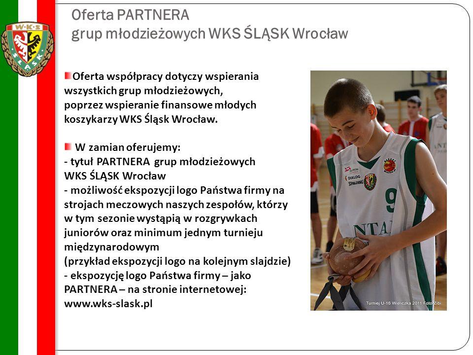 Oferta PARTNERA grup młodzieżowych WKS ŚLĄSK Wrocław Oferta współpracy dotyczy wspierania wszystkich grup młodzieżowych, poprzez wspieranie finansowe młodych koszykarzy WKS Śląsk Wrocław.