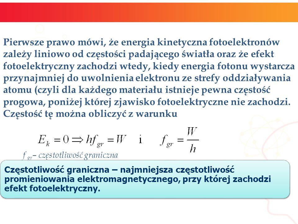 Pierwsze prawo mówi, że energia kinetyczna fotoelektronów zależy liniowo od częstości padającego światła oraz że efekt fotoelektryczny zachodzi wtedy,