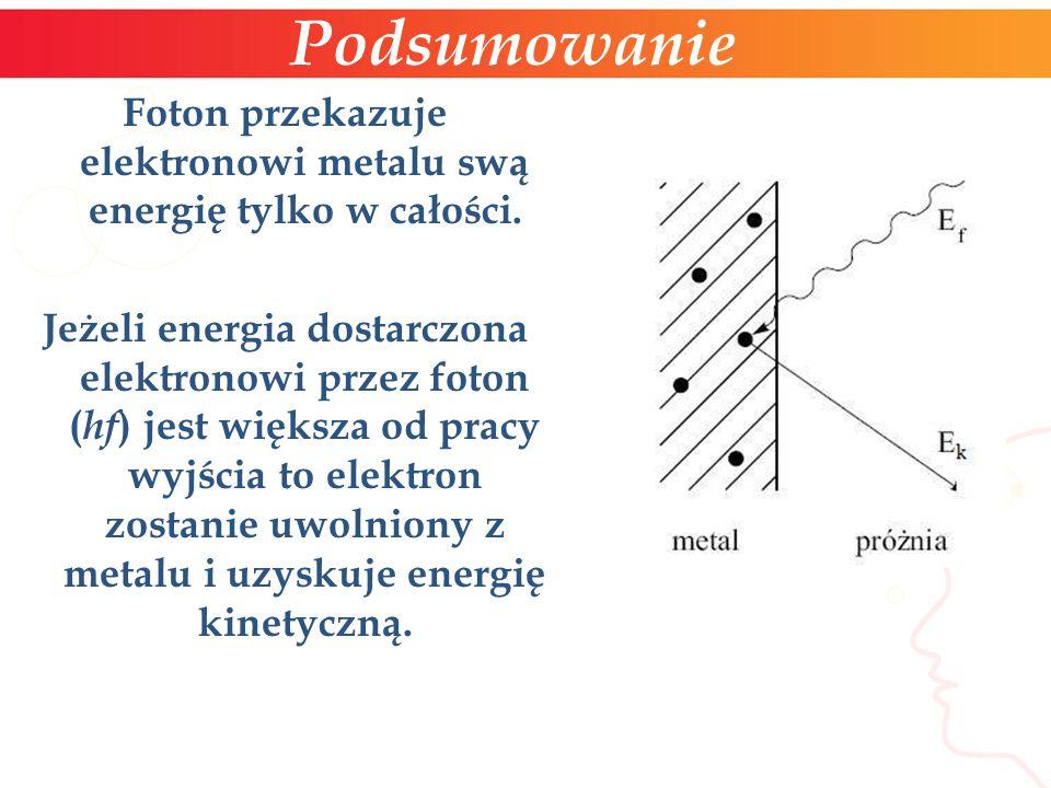Foton przekazuje elektronowi metalu swą energię tylko w całości. Jeżeli energia dostarczona elektronowi przez foton ( hf ) jest większa od pracy wyjśc