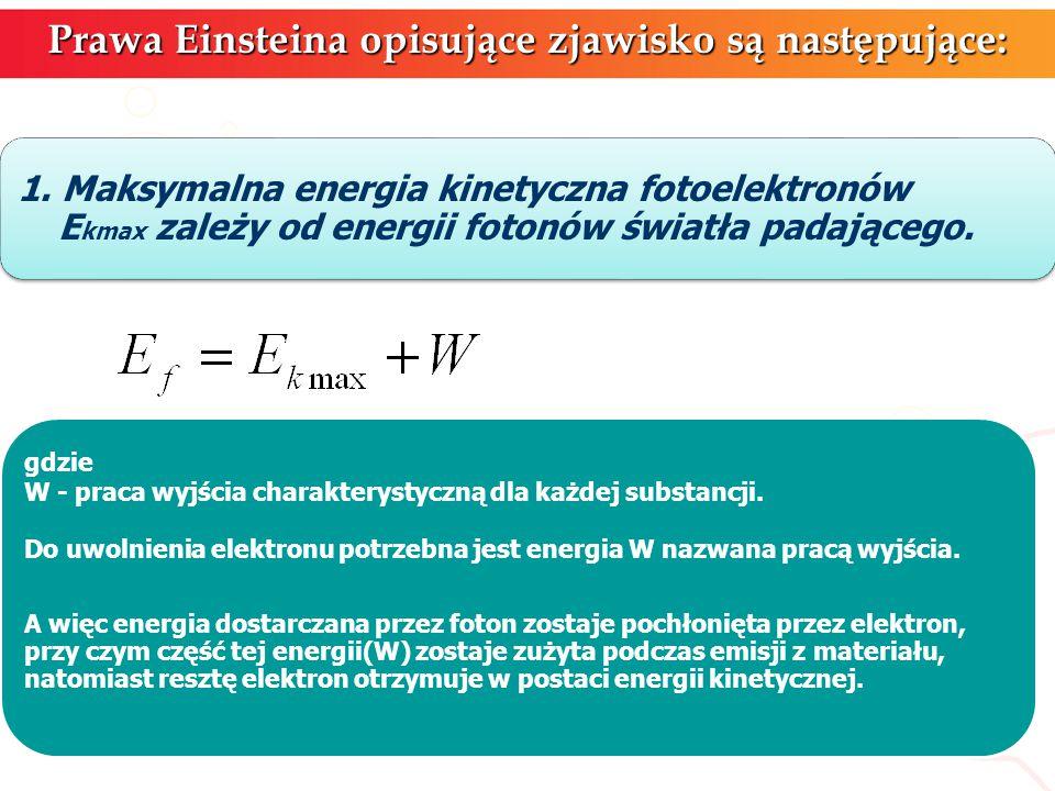 Prawa Einsteina opisujące zjawisko są następujące: 1. Maksymalna energia kinetyczna fotoelektronów E kmax zależy od energii fotonów światła padającego