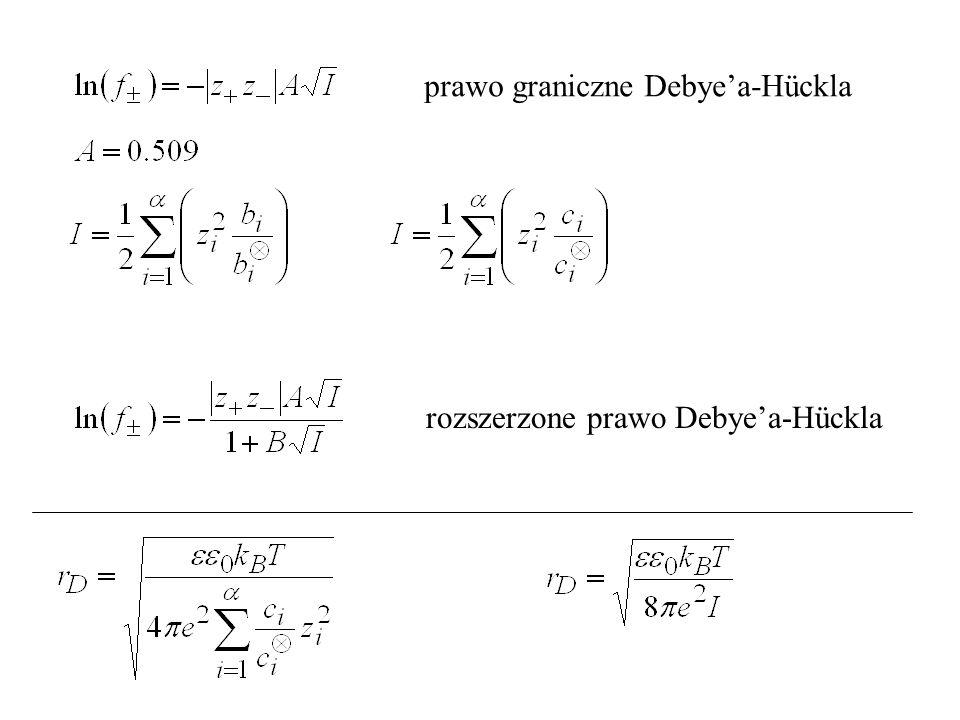 prawo graniczne Debye'a-Hückla rozszerzone prawo Debye'a-Hückla