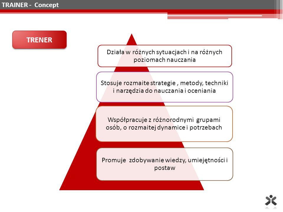 Działa w różnych sytuacjach i na różnych poziomach nauczania Stosuje rozmaite strategie, metody, techniki i narzędzia do nauczania i oceniania Współpracuje z różnorodnymi grupami osób, o rozmaitej dynamice i potrzebach Promuje zdobywanie wiedzy, umiejętności i postaw TRENER TRAINER - Concept
