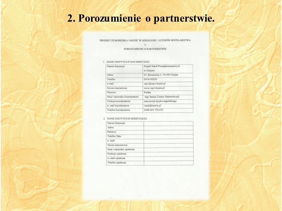 2. Porozumienie o partnerstwie.