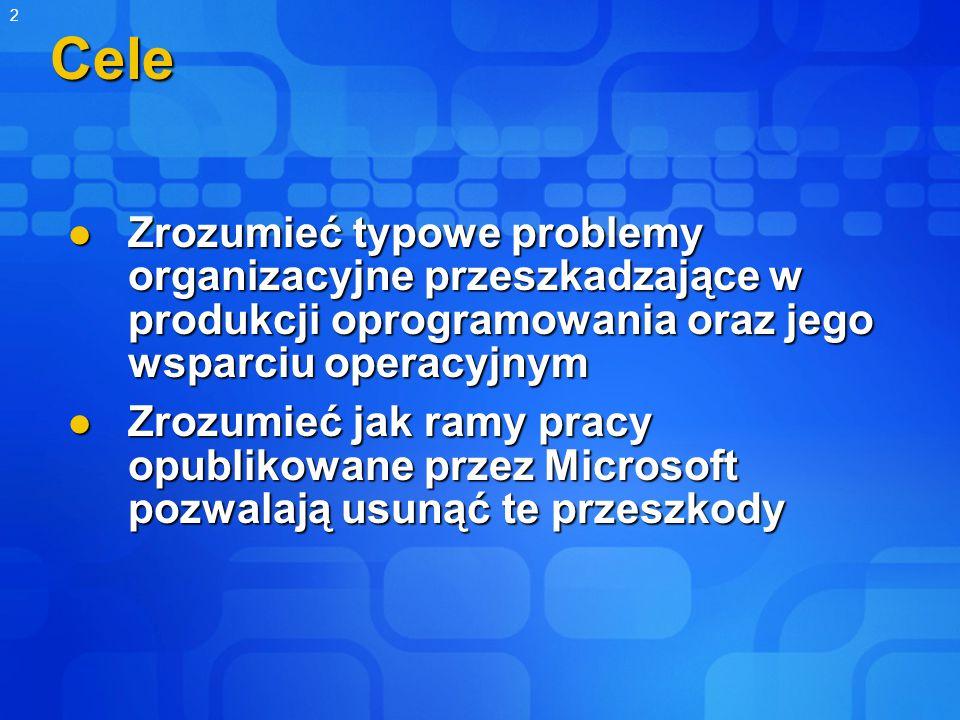 2Cele Zrozumieć typowe problemy organizacyjne przeszkadzające w produkcji oprogramowania oraz jego wsparciu operacyjnym Zrozumieć typowe problemy organizacyjne przeszkadzające w produkcji oprogramowania oraz jego wsparciu operacyjnym Zrozumieć jak ramy pracy opublikowane przez Microsoft pozwalają usunąć te przeszkody Zrozumieć jak ramy pracy opublikowane przez Microsoft pozwalają usunąć te przeszkody