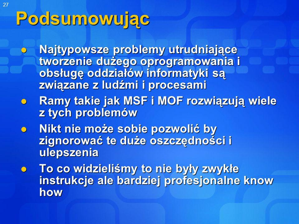 27Podsumowując Najtypowsze problemy utrudniające tworzenie dużego oprogramowania i obsługę oddziałów informatyki są związane z ludźmi i procesami Najtypowsze problemy utrudniające tworzenie dużego oprogramowania i obsługę oddziałów informatyki są związane z ludźmi i procesami Ramy takie jak MSF i MOF rozwiązują wiele z tych problemów Ramy takie jak MSF i MOF rozwiązują wiele z tych problemów Nikt nie może sobie pozwolić by zignorować te duże oszczędności i ulepszenia Nikt nie może sobie pozwolić by zignorować te duże oszczędności i ulepszenia To co widzieliśmy to nie były zwykłe instrukcje ale bardziej profesjonalne know how To co widzieliśmy to nie były zwykłe instrukcje ale bardziej profesjonalne know how