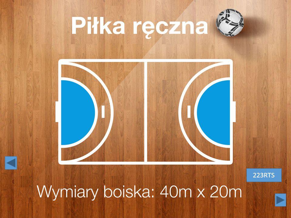Piłka ręczna. Białe litery na tle drewnianej podłogi. Obok tytułu – czarno-biała piłka. 223RTS