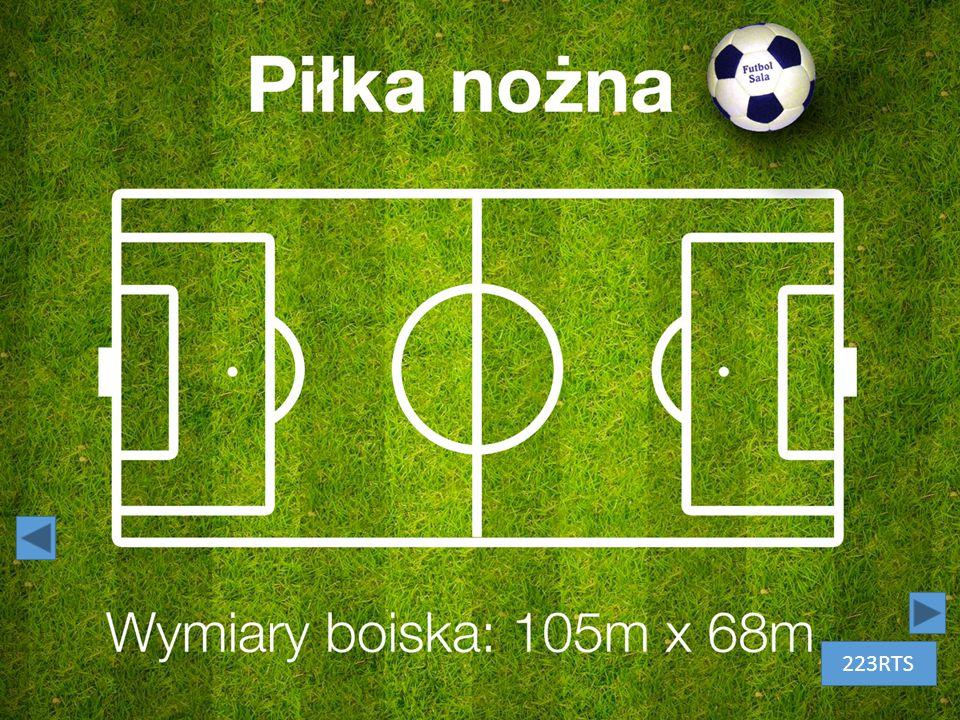 Piłka nożna – białe litery na zielonym tle przypominającym murawę. Obok tytułu biało-czarna piłka do piłki nożnej. 223RTS