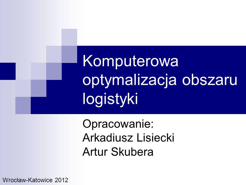 Cele Stworzenie narzędzia informatycznego optymalizujących pracę oddziału w Katowicach (w zakresie m.in.: przygotowania transportu, wyznaczenia trasy, działań marketingowych), Poszukujemy takiej organizacji przejazdów, która będzie maksymalizowała zysk Zysk jest rozumiany jako różnica dochodu ze sprzedaży produktów i kosztów przejazdu Funkcję celu można kształtować praktycznie dowolnie, może być wielowymiarowa Realizacja funkcji przez system komputerowy umożliwia skrócenie czasu przygotowania i dostarczenia zamówienia do klienta Organizacja przejazdów to również optymalizację procesu załadunku biorąc pod uwagę m.in.
