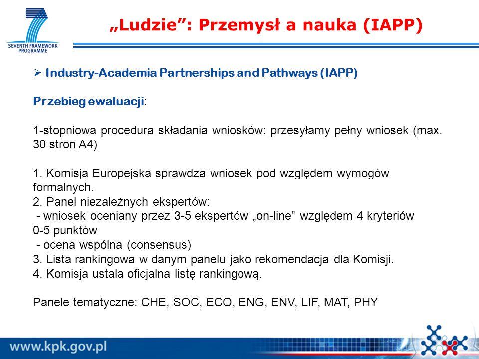 """""""Ludzie : Przemysł a nauka (IAPP)   Industry-Academia Partnerships and Pathways (IAPP) Przebieg ewaluacji : 1-stopniowa procedura składania wniosków: przesyłamy pełny wniosek (max."""