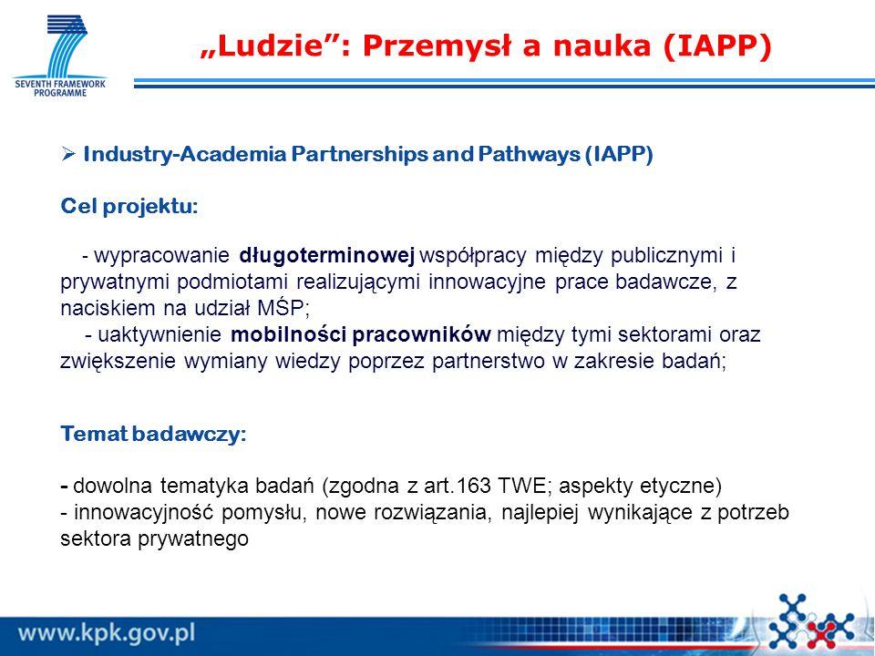 """  Industry-Academia Partnerships and Pathways (IAPP) Cel projektu: - wypracowanie długoterminowej współpracy między publicznymi i prywatnymi podmiotami realizującymi innowacyjne prace badawcze, z naciskiem na udział MŚP; - uaktywnienie mobilności pracowników między tymi sektorami oraz zwiększenie wymiany wiedzy poprzez partnerstwo w zakresie badań; Temat badawczy: - dowolna tematyka badań (zgodna z art.163 TWE; aspekty etyczne) - innowacyjność pomysłu, nowe rozwiązania, najlepiej wynikające z potrzeb sektora prywatnego """"Ludzie : Przemysł a nauka (IAPP)"""