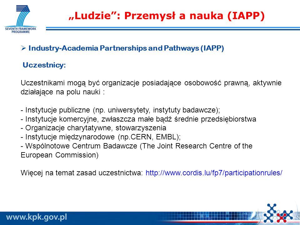   Industry-Academia Partnerships and Pathways (IAPP) Uczestnicy: Uczestnikami mogą być organizacje posiadające osobowość prawną, aktywnie działające na polu nauki : - Instytucje publiczne (np.