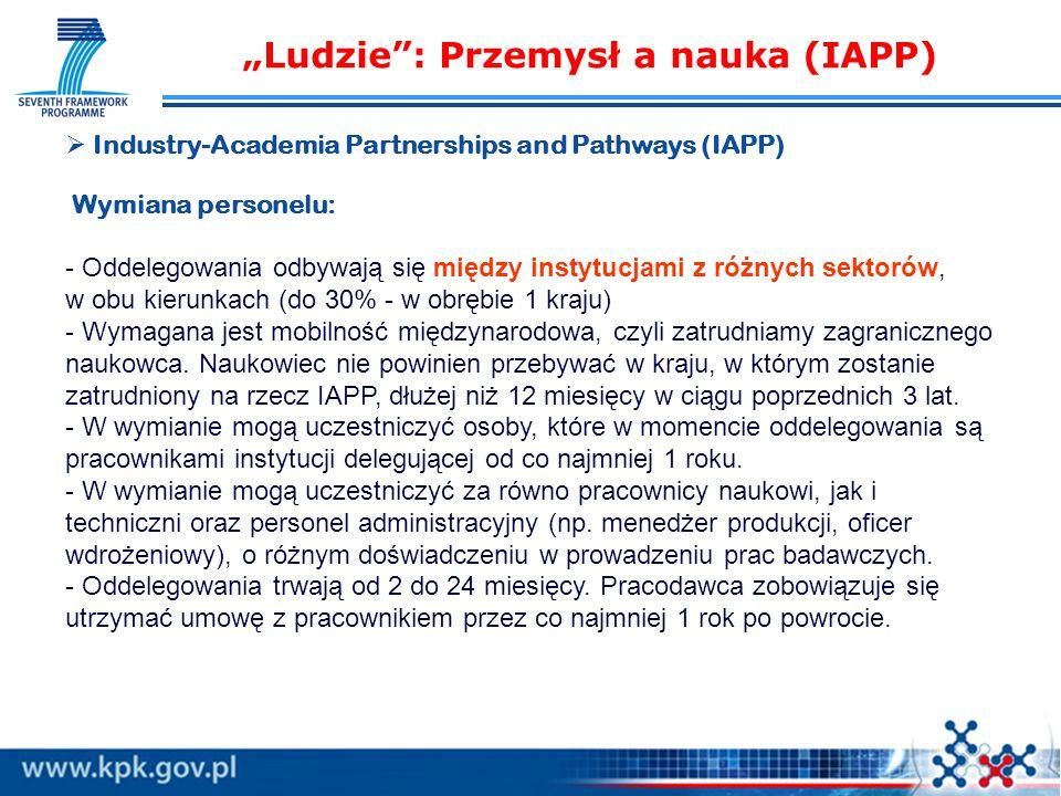 """""""Ludzie : Przemysł a nauka (IAPP)   Industry-Academia Partnerships and Pathways (IAPP) Wymiana personelu: - Oddelegowania odbywają się między instytucjami z różnych sektorów, w obu kierunkach (do 30% - w obrębie 1 kraju) - Wymagana jest mobilność międzynarodowa, czyli zatrudniamy zagranicznego naukowca."""