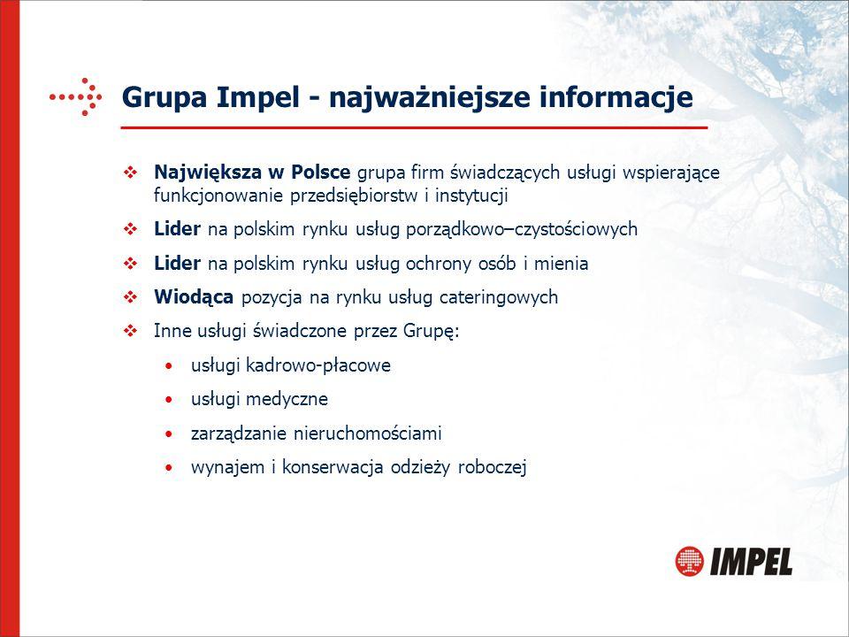 Grupa Impel - najważniejsze informacje  Największa w Polsce grupa firm świadczących usługi wspierające funkcjonowanie przedsiębiorstw i instytucji 