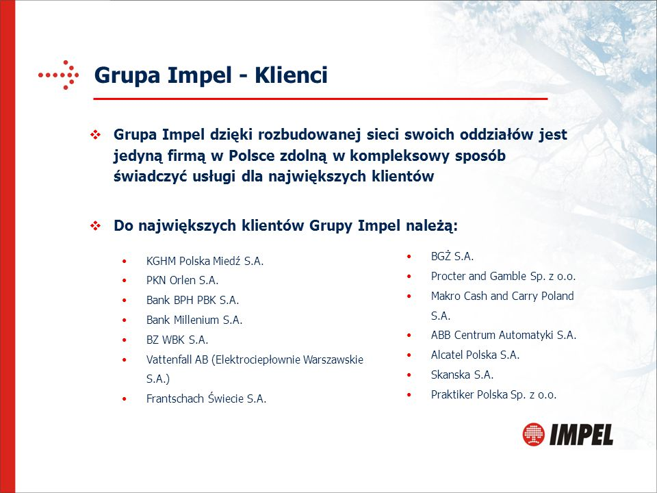 Grupa Impel - Klienci BGŻ S.A. Procter and Gamble Sp. z o.o. Makro Cash and Carry Poland S.A. ABB Centrum Automatyki S.A. Alcatel Polska S.A. Skanska