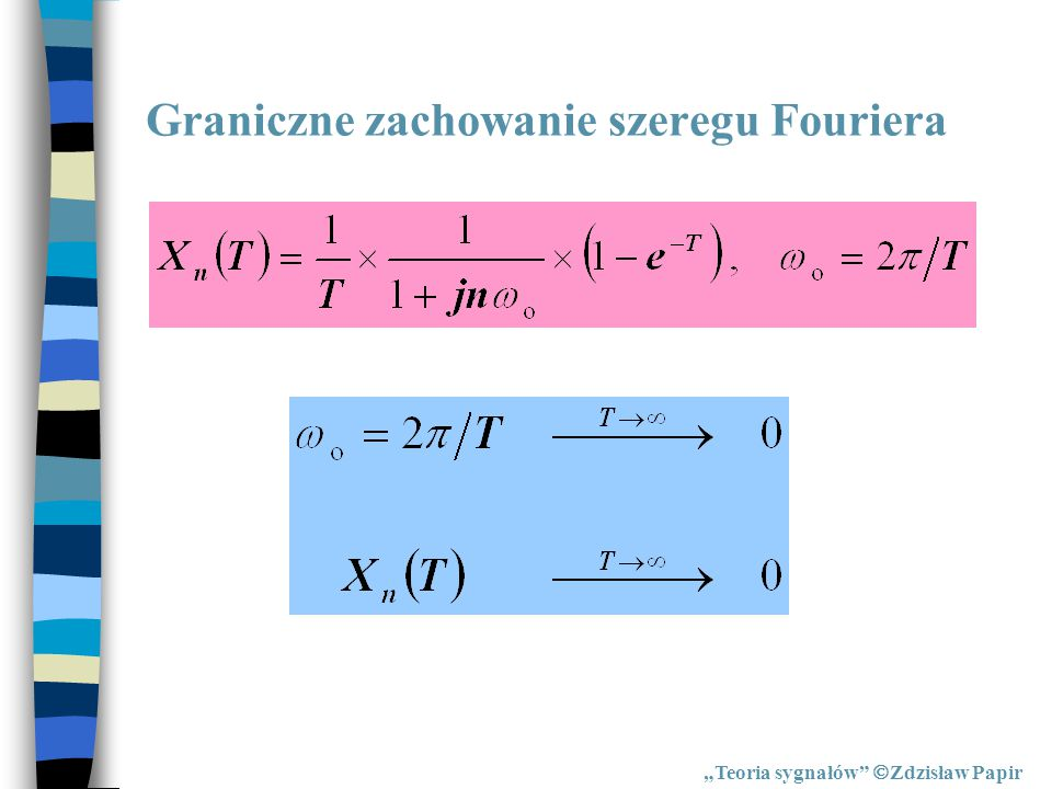 """Proste przekształcenie Fouriera """"Teoria sygnałów  Zdzisław Papir Twierdzenie całkowe Fouriera Proste przekształcenie Fouriera"""