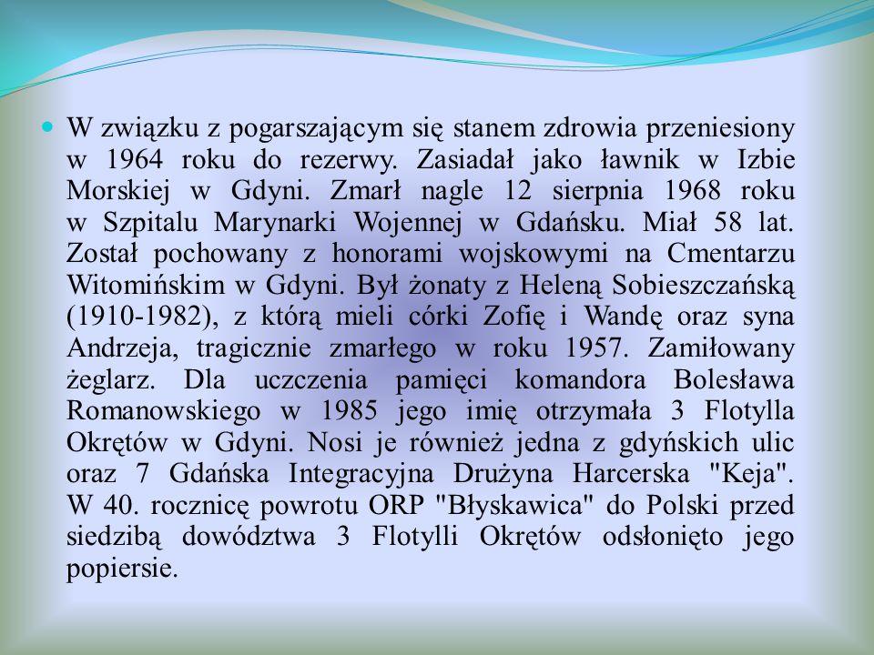 W związku z pogarszającym się stanem zdrowia przeniesiony w 1964 roku do rezerwy. Zasiadał jako ławnik w Izbie Morskiej w Gdyni. Zmarł nagle 12 sierpn