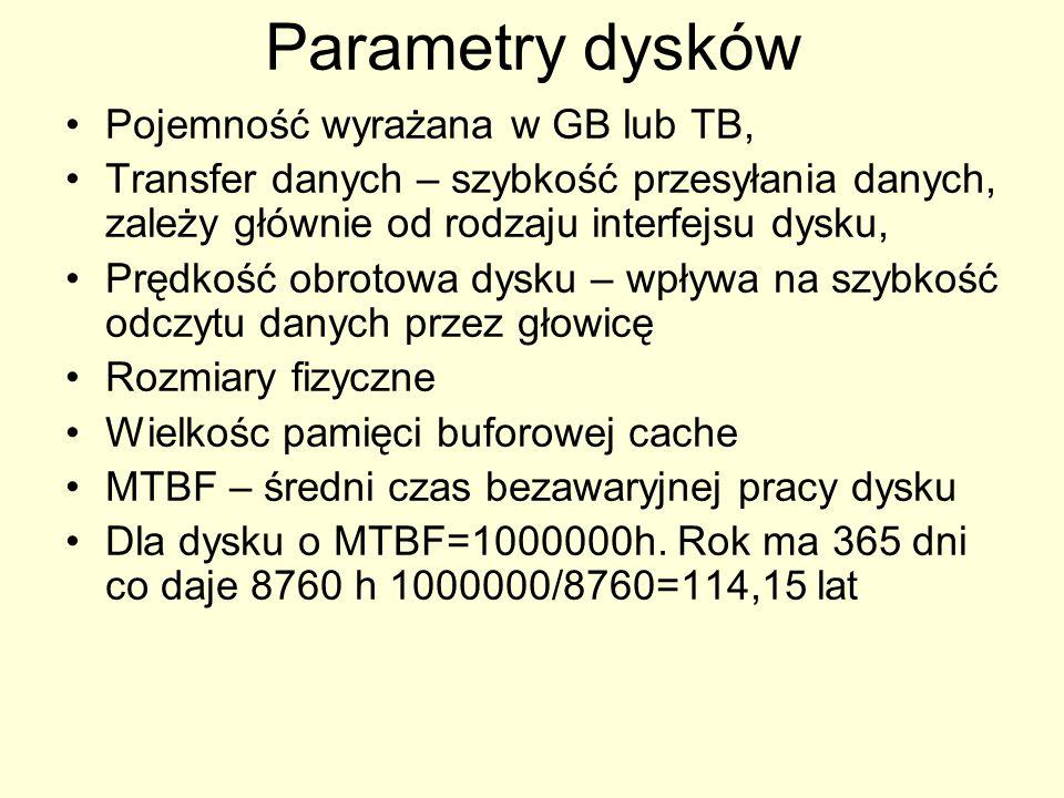 Parametry dysków Pojemność wyrażana w GB lub TB, Transfer danych – szybkość przesyłania danych, zależy głównie od rodzaju interfejsu dysku, Prędkość obrotowa dysku – wpływa na szybkość odczytu danych przez głowicę Rozmiary fizyczne Wielkośc pamięci buforowej cache MTBF – średni czas bezawaryjnej pracy dysku Dla dysku o MTBF=1000000h.
