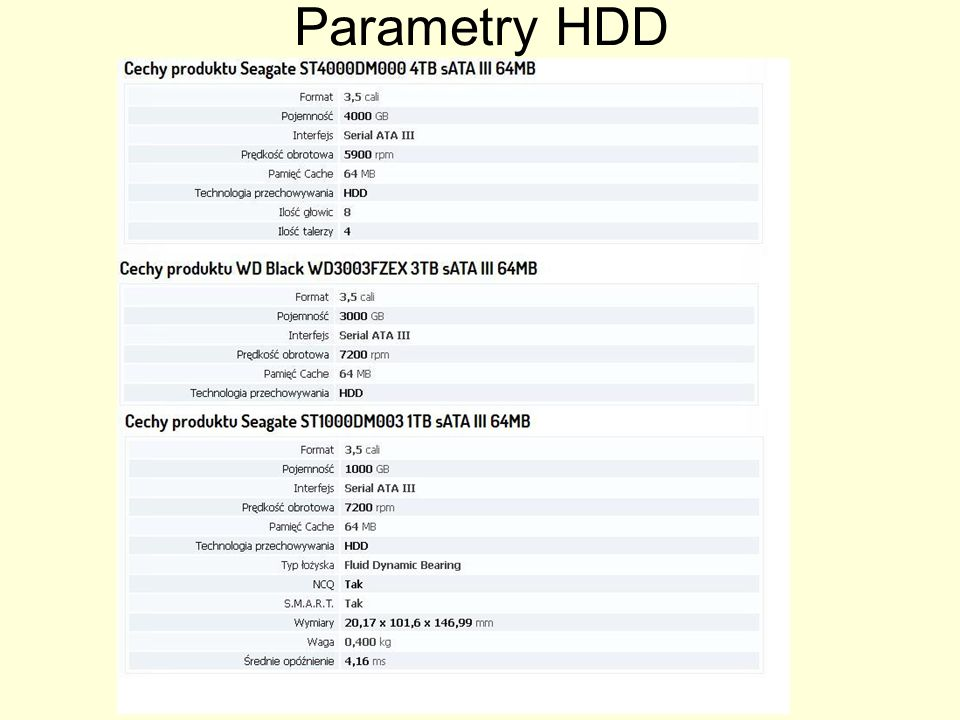 Parametry HDD