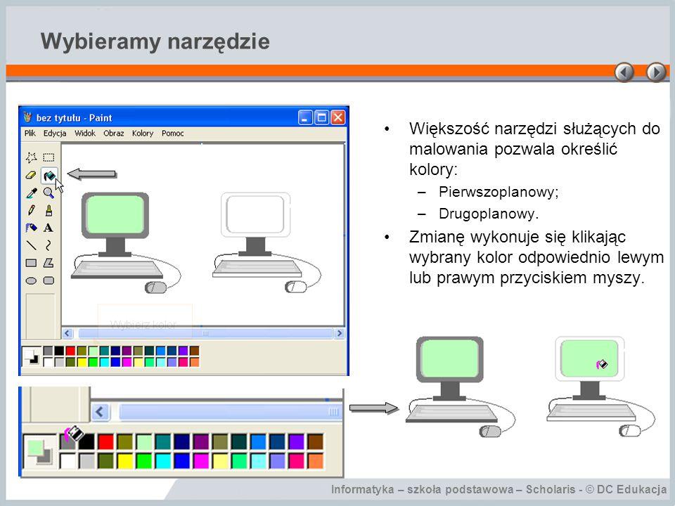 Informatyka – szkoła podstawowa – Scholaris - © DC Edukacja Wybieramy narzędzie Większość narzędzi służących do malowania pozwala określić kolory: –Pi