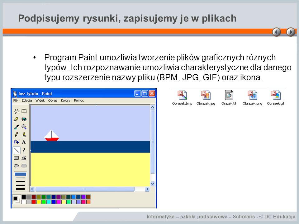 Informatyka – szkoła podstawowa – Scholaris - © DC Edukacja Podpisujemy rysunki, zapisujemy je w plikach Program Paint umożliwia tworzenie plików graf