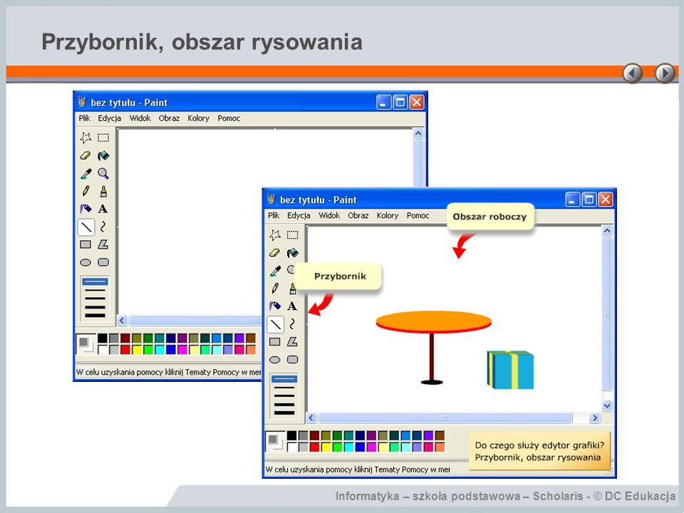 Informatyka – szkoła podstawowa – Scholaris - © DC Edukacja Przybornik, obszar rysowania