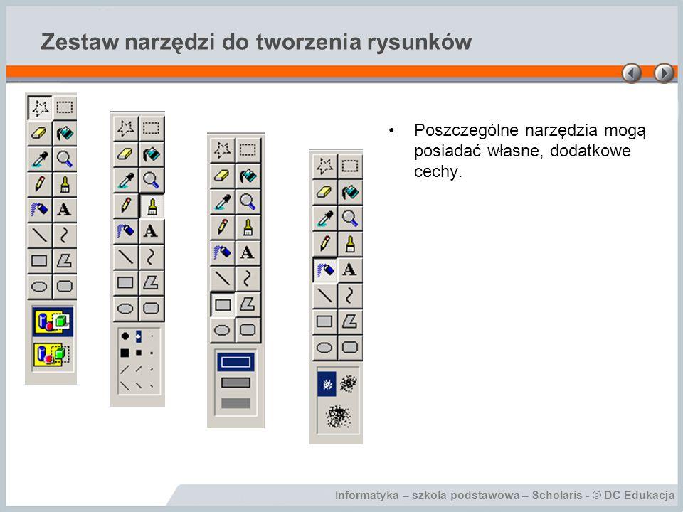 Informatyka – szkoła podstawowa – Scholaris - © DC Edukacja Zestaw narzędzi do tworzenia rysunków Poszczególne narzędzia mogą posiadać własne, dodatko