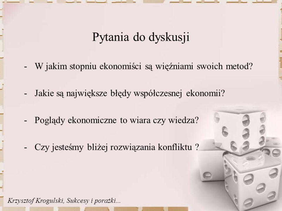 Pytania do dyskusji -W jakim stopniu ekonomiści są więźniami swoich metod.