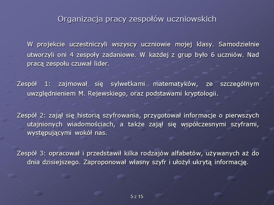5 z 15 Organizacja pracy zespołów uczniowskich W projekcie uczestniczyli wszyscy uczniowie mojej klasy.