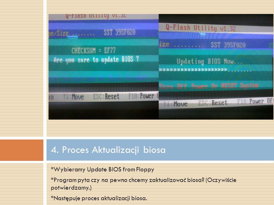 *Wybieramy Update BIOS from Floppy *Program pyta czy na pewno chcemy zaktualizować biosa.