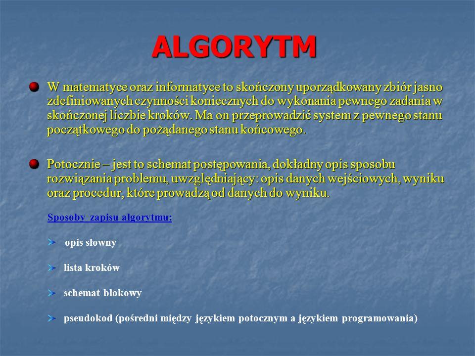 ALGORYTM W matematyce oraz informatyce to skończony uporządkowany zbiór jasno zdefiniowanych czynności koniecznych do wykonania pewnego zadania w skończonej liczbie kroków.