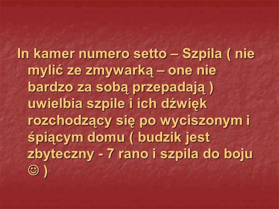 In kamer numero setto – Szpila ( nie mylić ze zmywarką – one nie bardzo za sobą przepadają ) uwielbia szpile i ich dźwięk rozchodzący się po wyciszony