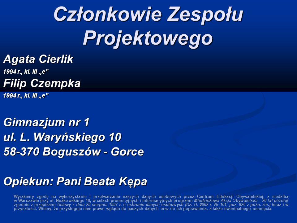 Członkowie Zespołu Projektowego Agata Cierlik 1994 r., kl.