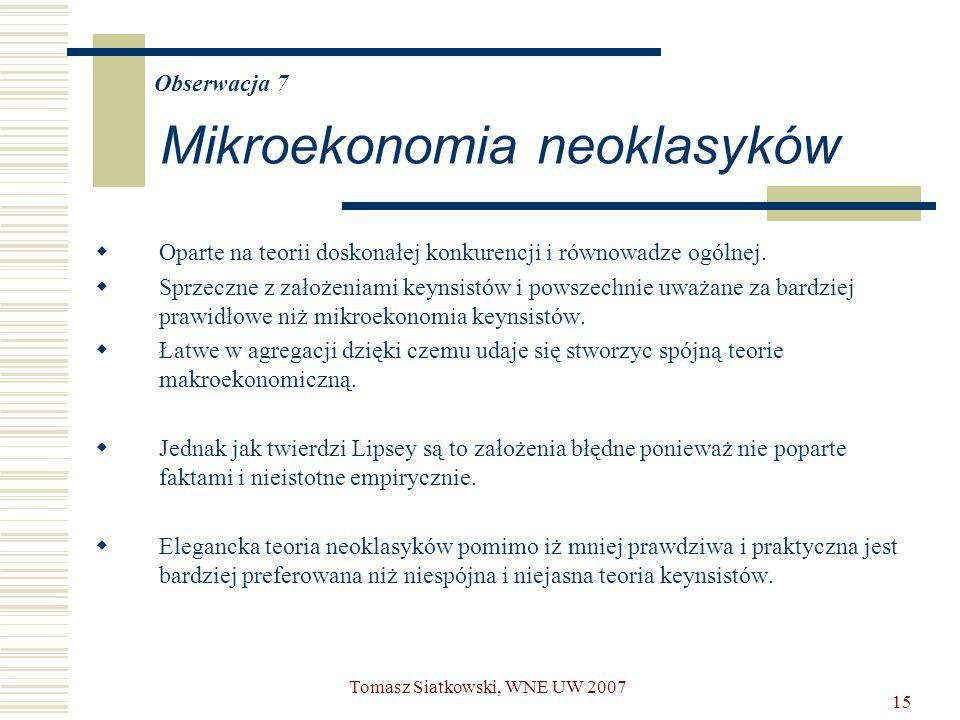 15 Obserwacja 7 Mikroekonomia neoklasyków  Oparte na teorii doskonałej konkurencji i równowadze ogólnej.  Sprzeczne z założeniami keynsistów i powsz