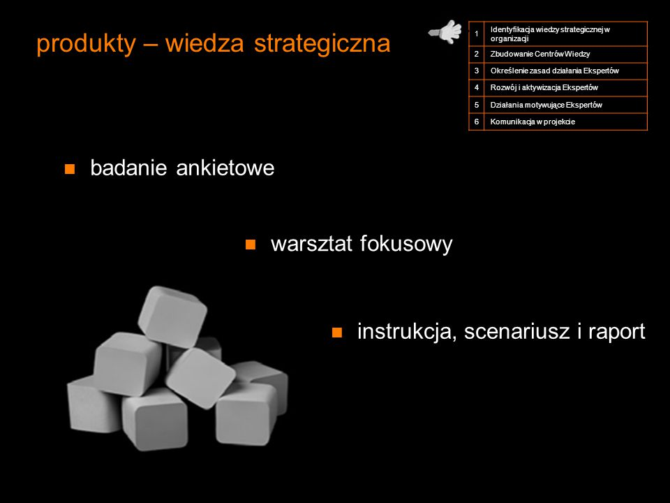 produkty – wiedza strategiczna 1 Identyfikacja wiedzy strategicznej w organizacji 2Zbudowanie Centrów Wiedzy 3Określenie zasad działania Ekspertów 4Ro