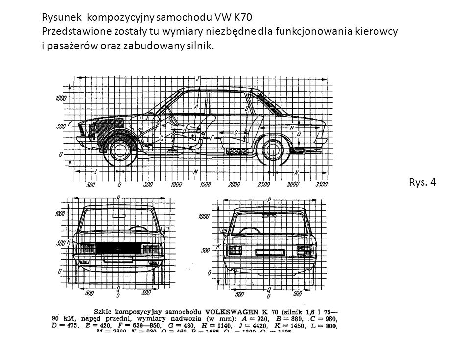 Rysunek kompozycyjny samochodu VW K70 Przedstawione zostały tu wymiary niezbędne dla funkcjonowania kierowcy i pasażerów oraz zabudowany silnik.