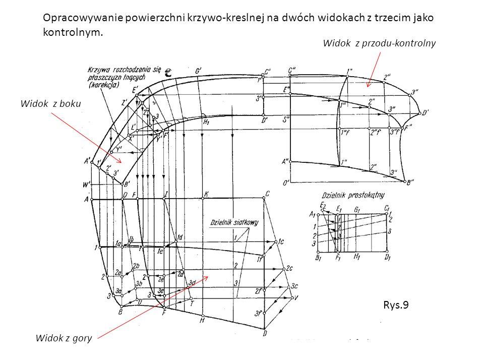 Opracowywanie powierzchni krzywo-kreslnej na dwóch widokach z trzecim jako kontrolnym. Widok z gory Widok z boku Widok z przodu-kontrolny Rys.9