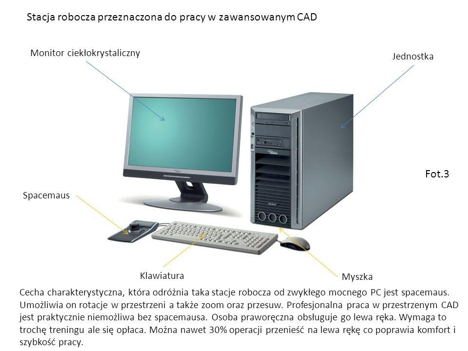 Stacja robocza przeznaczona do pracy w zawansowanym CAD Monitor ciekłokrystaliczny Jednostka Myszka Klawiatura Spacemaus Cecha charakterystyczna, która odróżnia taka stacje robocza od zwykłego mocnego PC jest spacemaus.